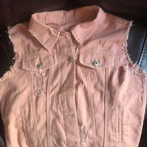 Jackets & Blazers - Large Pink Jean Vest